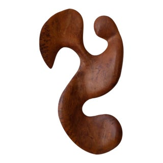 Biomorphic Redwood Wall Sculpture, 1970s For Sale