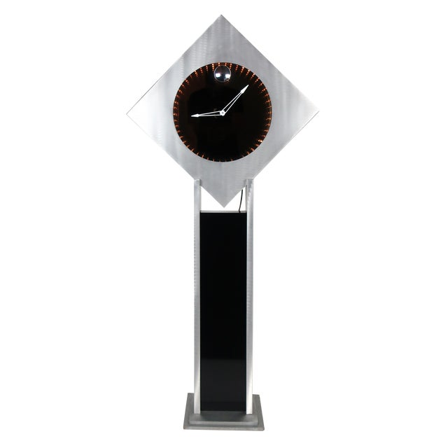 Brushed Aluminum Infinity Clock With Stand For Sale