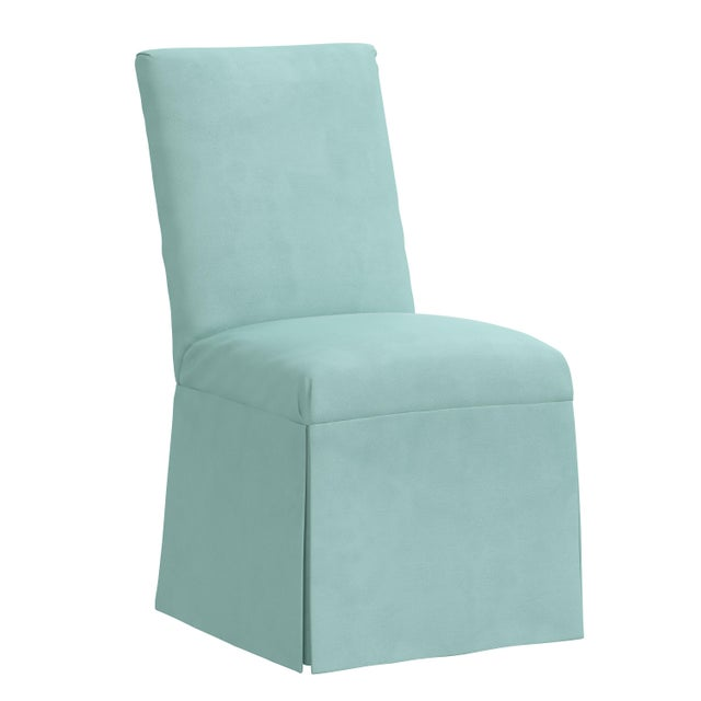 Green Slipcover Dining Chair in Velvet Caribbean For Sale - Image 8 of 8