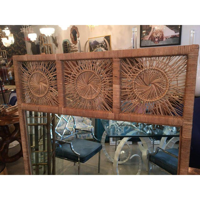 Rattan Boho Tropical Palm Beach Bamboo Oversized Wall Mirror For Sale - Image 5 of 11