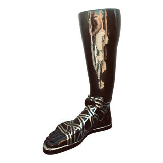 1970s Mid-Century Modern Iconic Fornasetti Glazed Ceramic Umbrella Stand in the Form of a Roman Foot For Sale