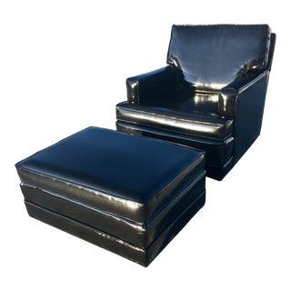 Mid-Century Modern Patent Leather Club Chair & Ottoman Edward Wormley for Dunbar Berne For Sale