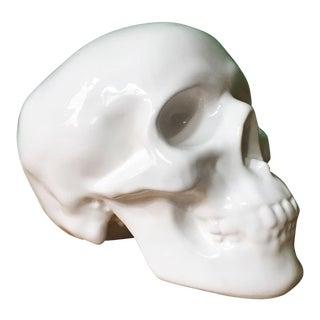 White Ceramic Skull Coin Bank For Sale