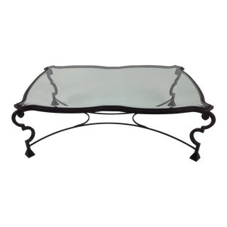 Modern Glass Top Iron Based Coffee Table