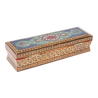 Micro Mosaic Indo Moorish Inlaid Jewelry Pen Box For Sale