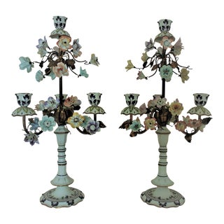 Vintage Italian Porcelain Candelabra Lamps With Flowers Floral Girandoles Candle Holders - a Pair For Sale
