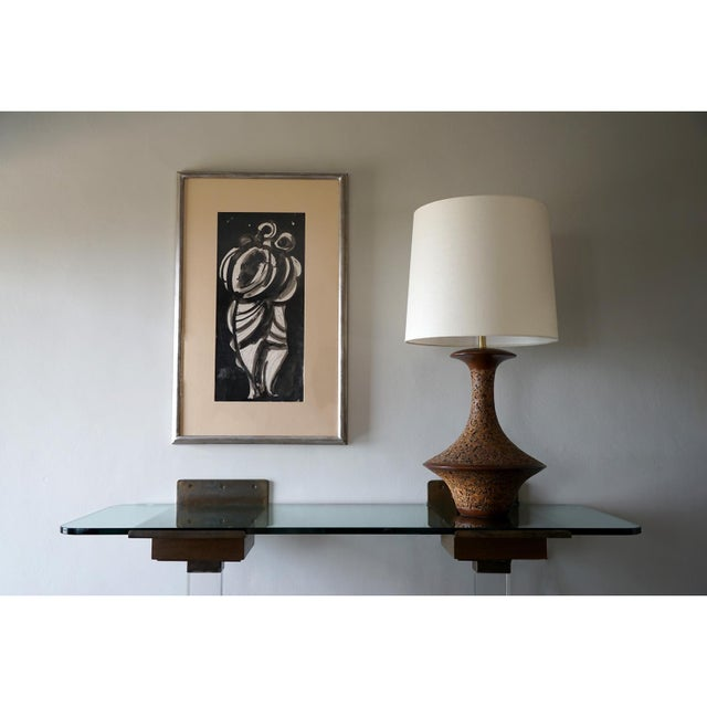 1960s Spun Walnut and Cork Table Lamp With Shade For Sale In Los Angeles - Image 6 of 7