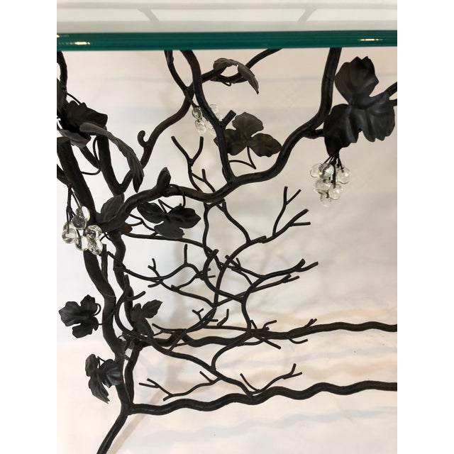 1980s Traditional Hand Forged Iron Console Table and Wine Rack For Sale - Image 10 of 11