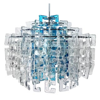 1960s Italian Interlocking Blue and Clear Murano C Link Chandelier by Mazzega For Sale