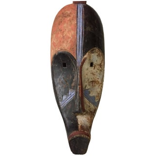 "Lg Old Fang Mask Elongated Face Gabon African Mask 20.5"" H For Sale"
