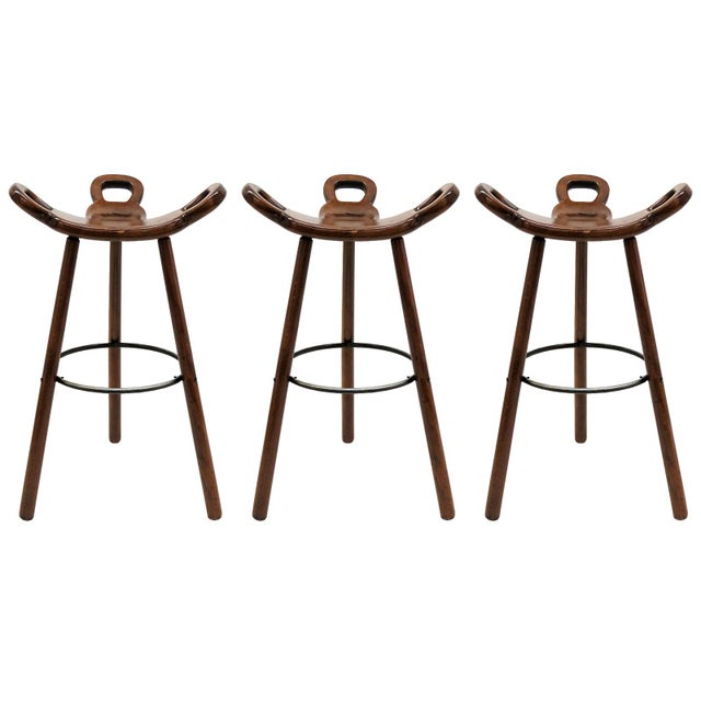 "1970s Vintage Confonorm Brutalist ""Marbella"" Bar Stools- Set of 3 For Sale - Image 11 of 11"