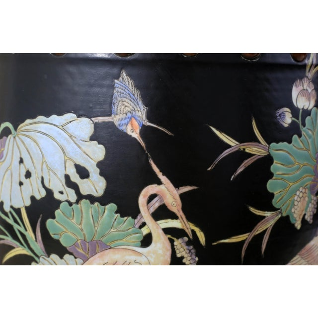 Ceramic Vintage Black Garden Stool With Cranes and Lotuses For Sale - Image 7 of 12