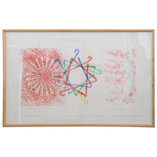 "Abstract Numbered 19 and Signed Print by Pop Artist James Rosenquist ""Number Wheel Dinner Triangle"""