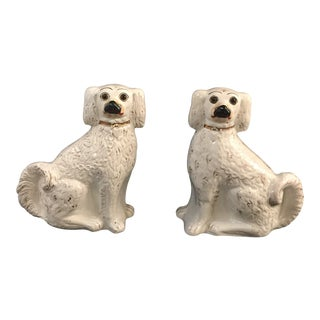 19th Century Traditional Staffordshire Spaniel White Dogs - a Pair For Sale