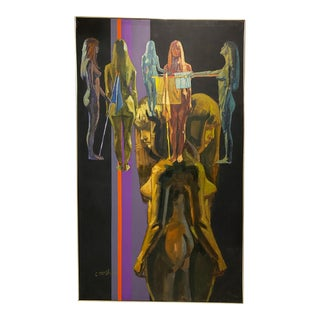 1970s Abstract Figurative Nude Oil Painting, Framed For Sale
