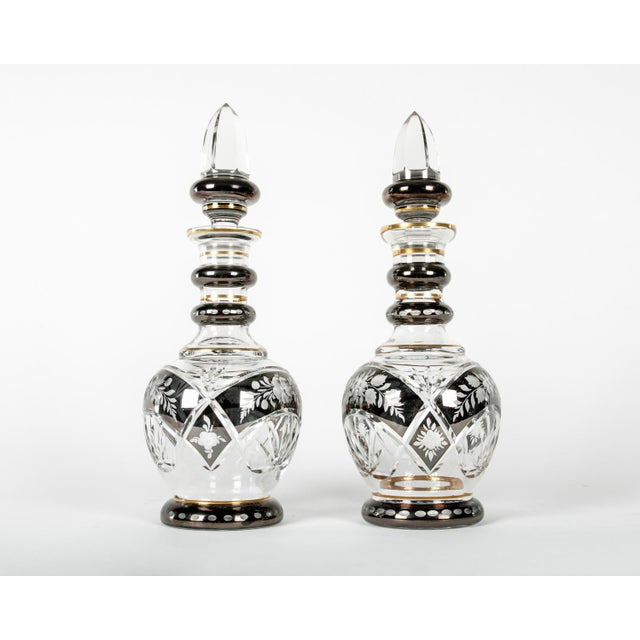 Art Nouveau Pair of Etched Crystal Decanter For Sale - Image 3 of 6