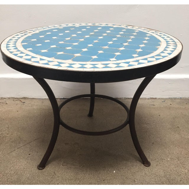 Moroccan Mosaic Outdoor Blue Tile Side Table on Low Iron Base For Sale - Image 13 of 13