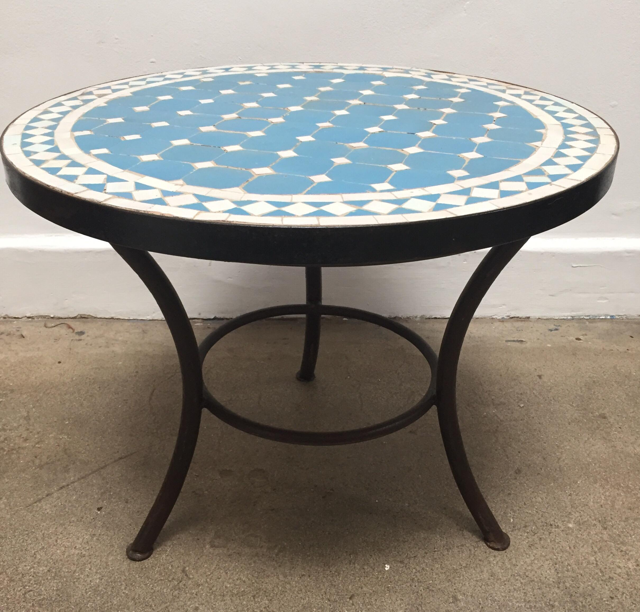 Moroccan Mosaic Outdoor Blue Tile Side Table On Low Iron Base For Sale    Image 13
