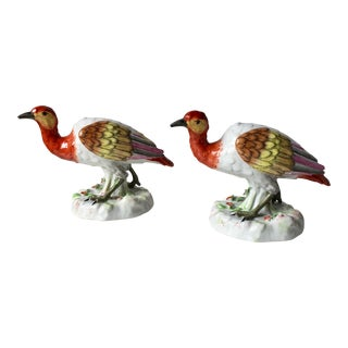 2 Porcelaine De Paris Hand-Painted Birds For Sale