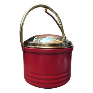 Mid Century Red & Brass Trim Bar Ice Bucket For Sale