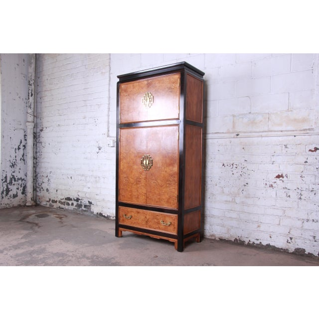 Asian Century Furniture Black Lacquer and Burl Wood Chinoiserie Armoire Dresser For Sale - Image 3 of 13