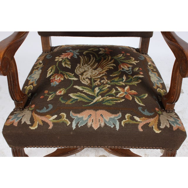 1920s Needlepoint Fauteuil Floral W/Bird For Sale - Image 4 of 5