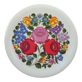 Hungarian Hand-Painted Floral Porcelain Plate For Sale