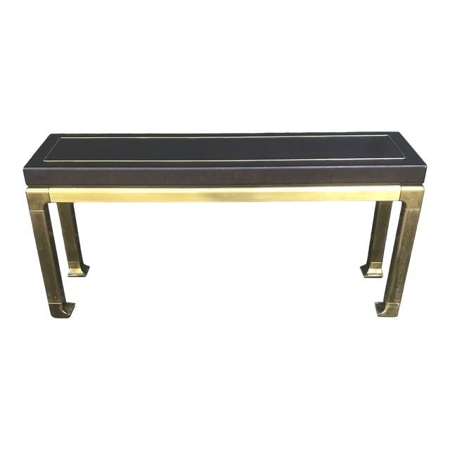 Hollywood Regency Leather Top and Brass Base Console Table by Widdicomb For Sale
