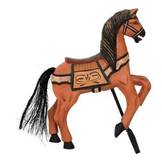 Carved Wooden Folk Art Horse For Sale