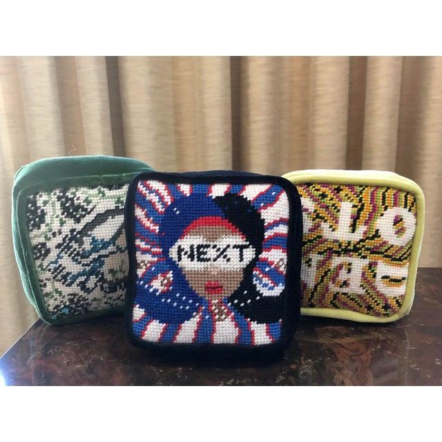 "Blue Original ""Next"" Needlepoint Objet d'Art Pillow Box, Custom Made For Sale - Image 8 of 8"