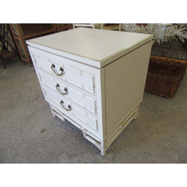 Regency Ficks Reed Faux Bamboo Nightstand For Sale - Image 3 of 8