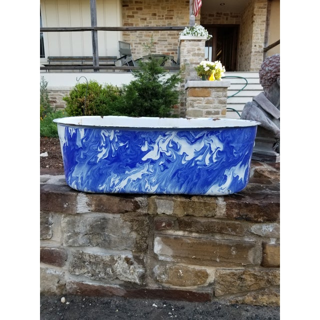 Large Blue and White Enamel Ware Sink For Sale - Image 9 of 10