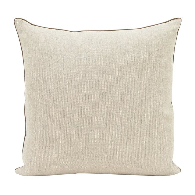 """•22"""" x 22"""" •linen blended front •backed in coordinating solid neutral linen •knife edges •silk piping on edges •hidden..."""