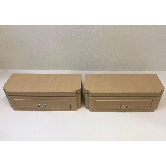 Steve Chase Grasscloth Floating Nightstands by Steve Chase - a Pair For Sale - Image 4 of 10