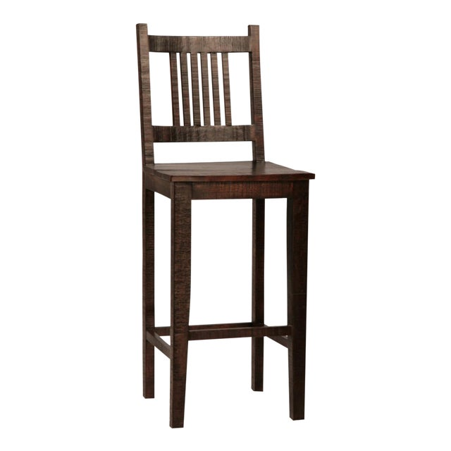 Rustic Hardwood Bar Chair For Sale
