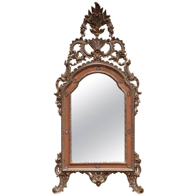 Silver Mid-20th Century Italian Carved Silver Leaf Mirror With Painted Coral Trim For Sale - Image 8 of 8