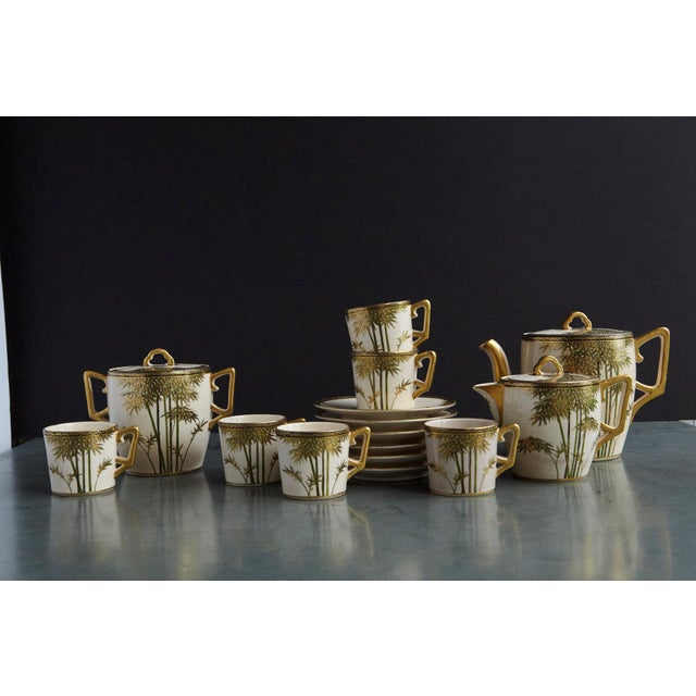 Japanese Hand Painted and Gilded Demitasse Coffee Service, New in Box, 1930s For Sale - Image 12 of 13