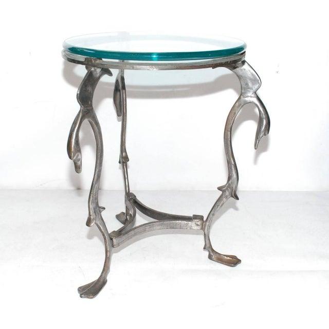Mid-Century Modern Iron Swan Gueridon Table For Sale - Image 3 of 8