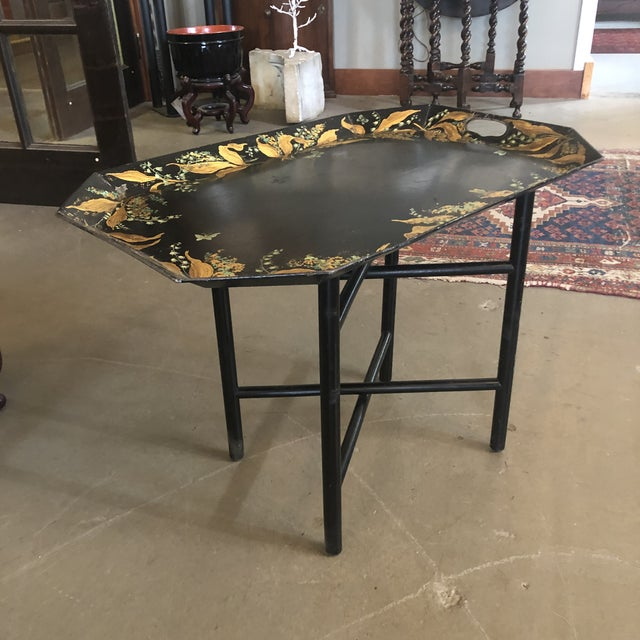Black 1960s Tole Butler Tray and Stand Flora Fauna Butterfly Motif For Sale - Image 8 of 13