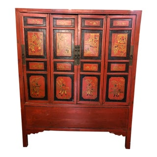Red Lacquered Chinese Cabinet For Sale