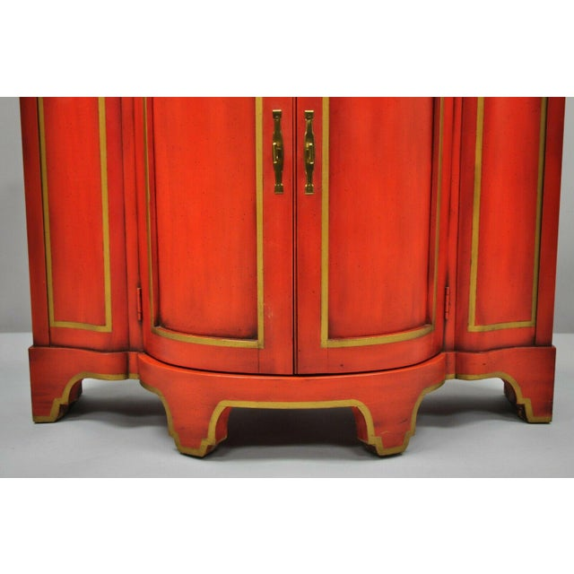 Asian Red Lacquer Medallion Ltd Demilune Chinoiserie Georgian Credenza For Sale - Image 3 of 13