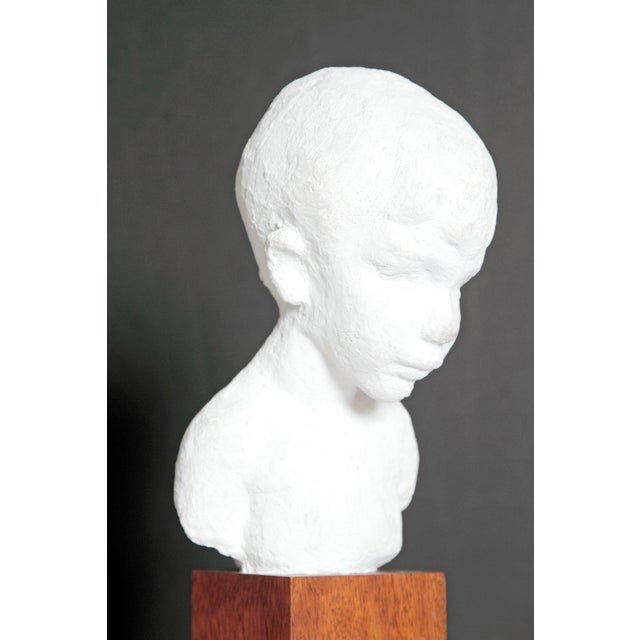 Bust of Young Boy on Mahogany Stand For Sale - Image 11 of 12
