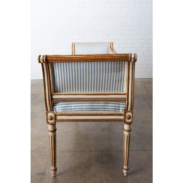 French Louis XVI Style Painted Window Bench Banquette For Sale - Image 11 of 13