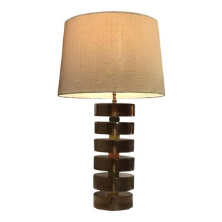 Amber Lucite Stacked Table Lamp For Sale