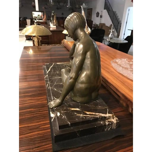 Art Deco Signed French Art Deco Bronze Sculpture of Nude Seated Female For Sale - Image 3 of 10