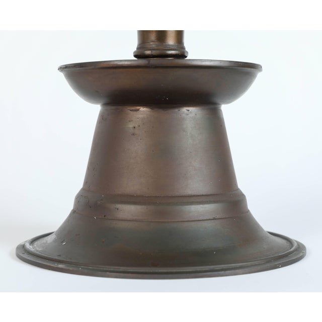 Massive Pair of Ottoman Empire Cast Bronze Candleholders For Sale In Los Angeles - Image 6 of 9