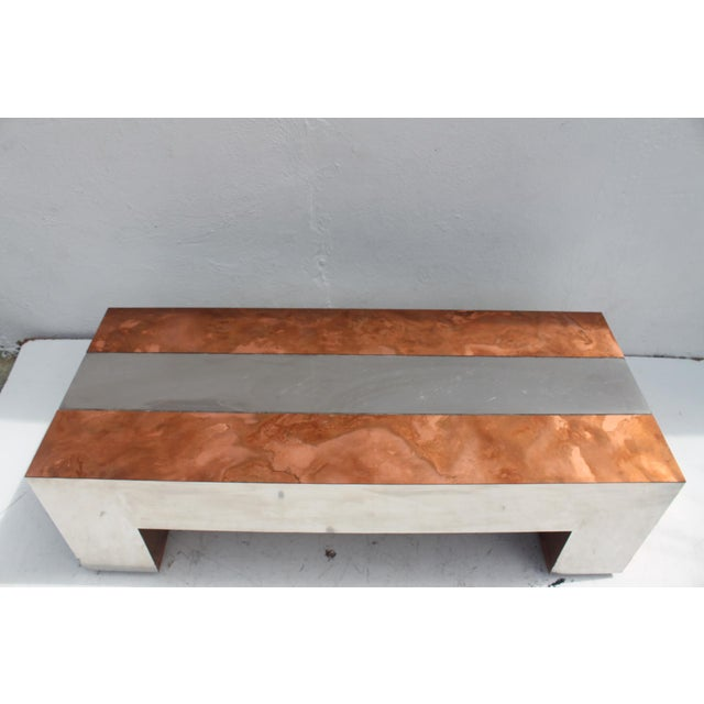 Faceted Copper Coffee Table: Paul Evans Style Chrome & Copper Rectangular Coffee Table