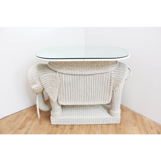 Mario Torres Wicker Elephant Bar W/ Mirror Top and Hidden Storage For Sale - Image 4 of 9
