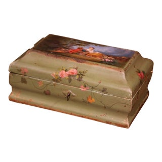 19th Century French Carved Painted Green Jewelry Box With Courting Scene For Sale