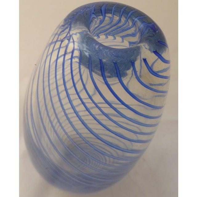 Murano Mid Century Glass Blue Swirl Vase - Image 4 of 9